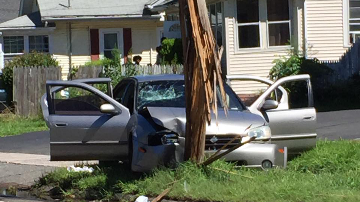 A car struck a pole on Deerfield Road Monday morning.