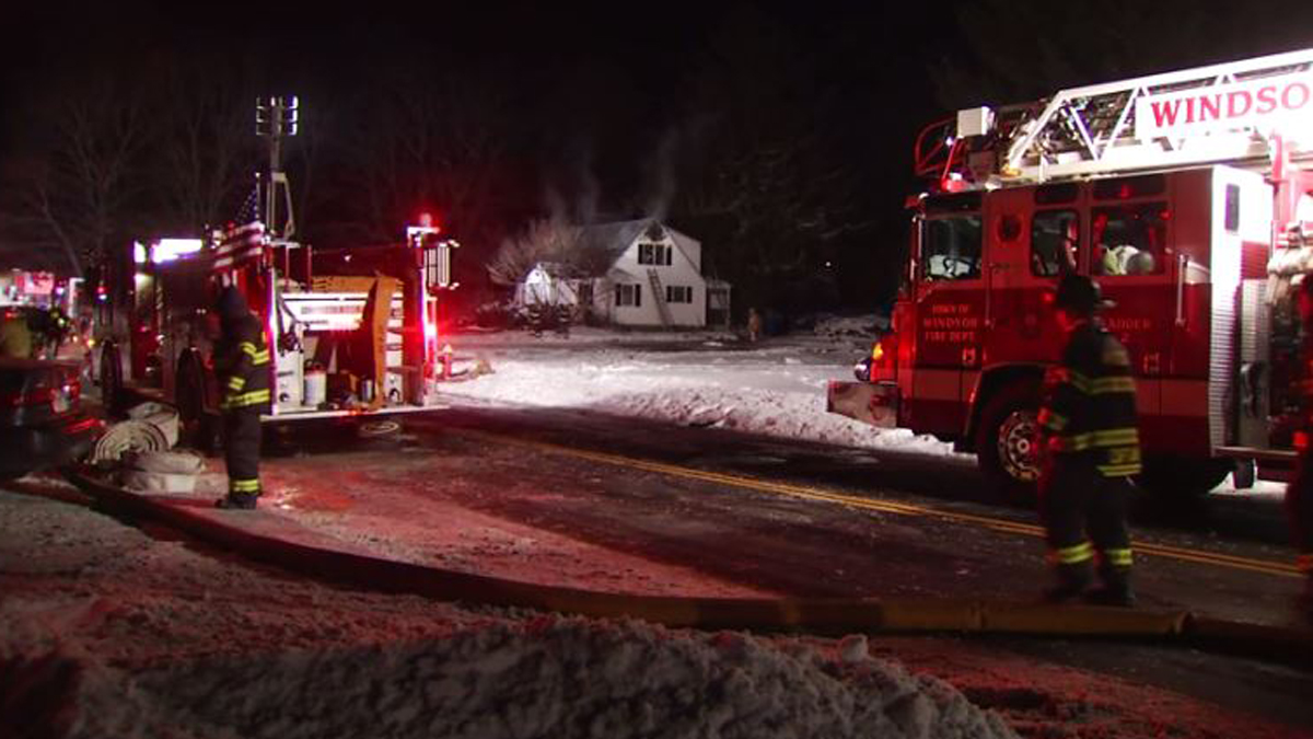 Firefighters battled a house fire on Dudley Town Road in Windsor overnight Monday.