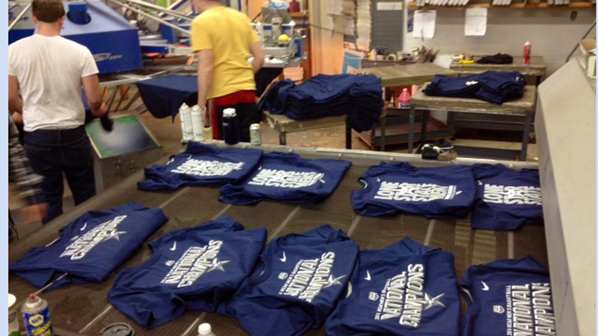 Zuse, a Guilford apparel company, has been printing UConn championship shirts.