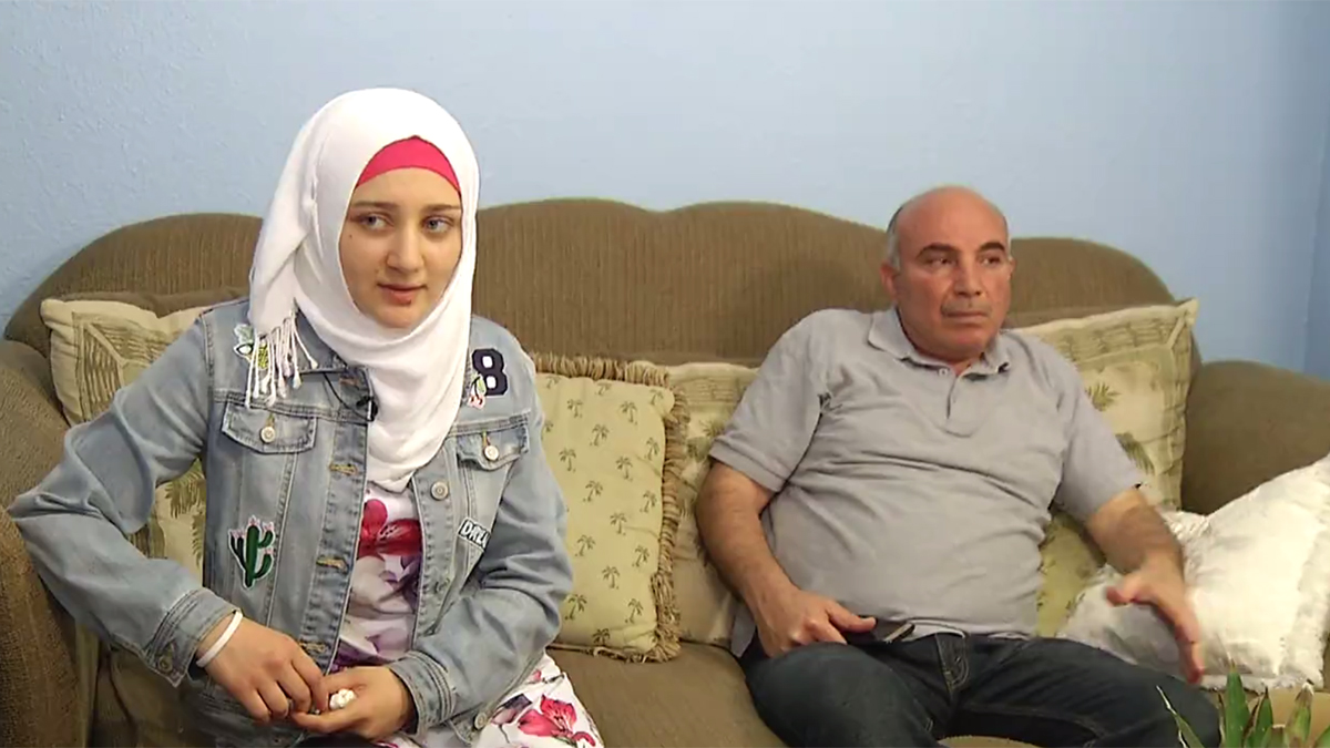 Mony Zarour, 22, and her father are originally from Homs, Syria. The family fled the war-torn country and resettled in El Cajon, California, in east San Diego County.