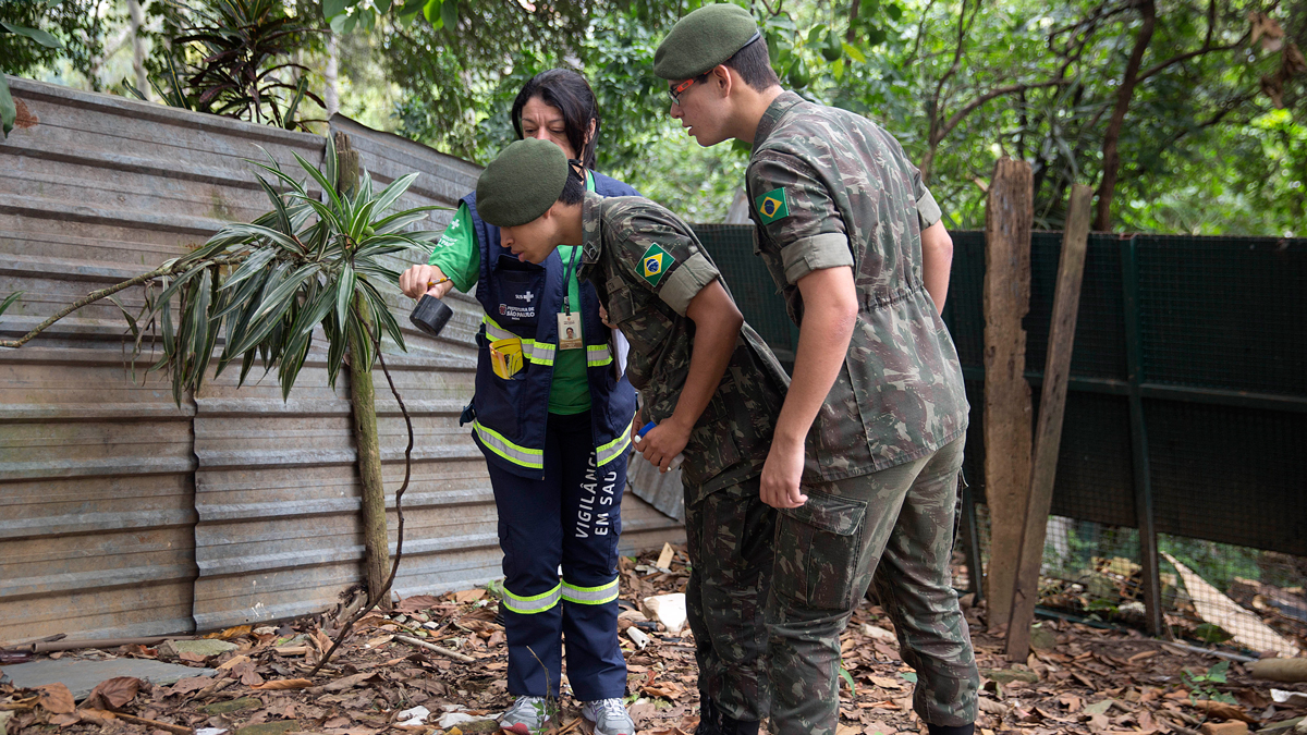 A health agent from Sao Paulo's Public health secretary shows army soldiers Aedes aegypti mosquito larvae that she found during clean up operation against the insect, which is a vector for transmitting the Zika virus, in Sao Paulo, Brazil, Wednesday, Jan. 20, 2016. A U.S. warning urging pregnant women to avoid travel to Latin American countries where the mosquito-borne virus is multiplying threatens to depress tourism to the region, one of its few bright spots at a time of deep economic pain.