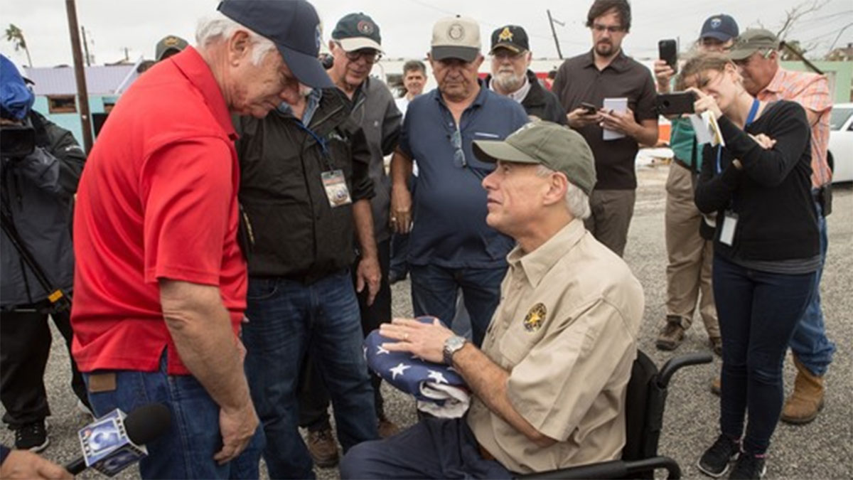 While touring the damage in Rockport, Texas, Gov. Greg Abbott was approached by a local veteran who recovered the American Flag that was flying at Rockport City Hall. She asked the Governor to deliver the flag to Rockport Mayor C.J. Wax, which he did.