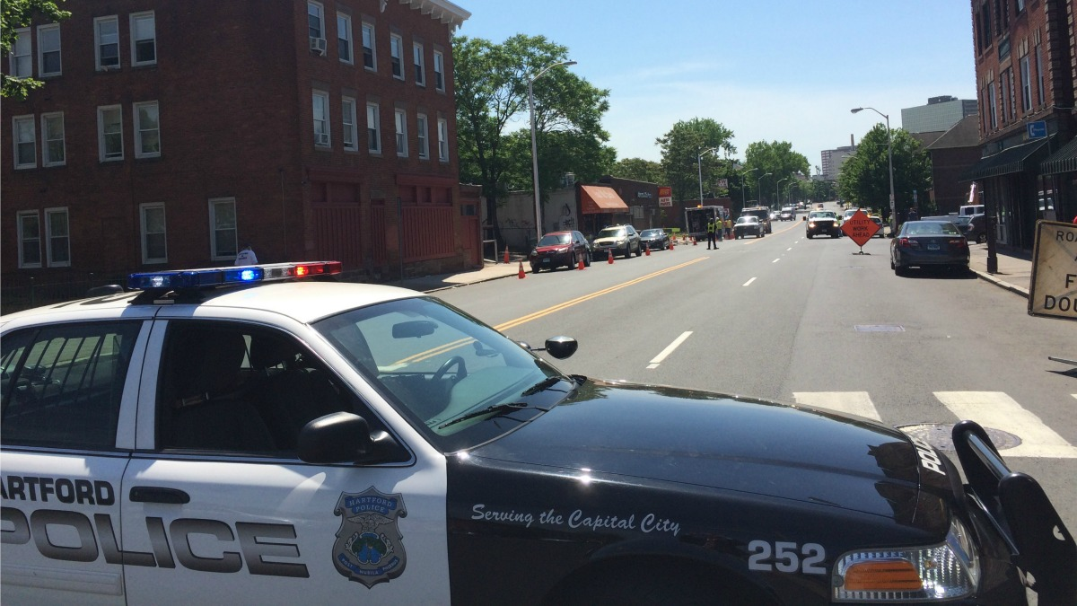 A gas leak shut down Albany Avenue in Hartford on Wednesday morning.