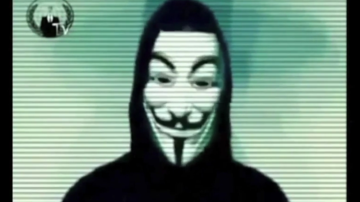 Screen capture from video purportedly posted by Anonymous that threatens the city of Fort Lauderdale's websites.