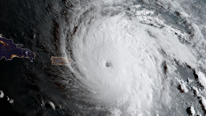 In this geocolor image captured by GOES-16 and released by the National Oceanic and Atmospheric Administration (NOAA), Hurricane Irma approaches Anguilla on Wednesday, Sept. 6, 2017. The most powerful Atlantic Ocean hurricane in recorded history has roared into the Caribbean, its winds ripping off roofs and knocking out phones. It's on a path toward Puerto Rico, the Dominican Republic, Haiti and Cuba before possibly hitting Florida. (NOAA via AP)