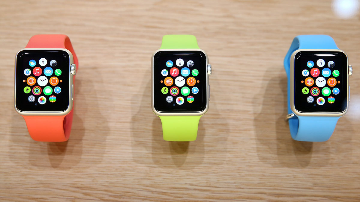This September 9, 2014, file photo shows the Apple Watch displayed during an Apple special event at the Flint Center for the Performing Arts in Cupertino, California.