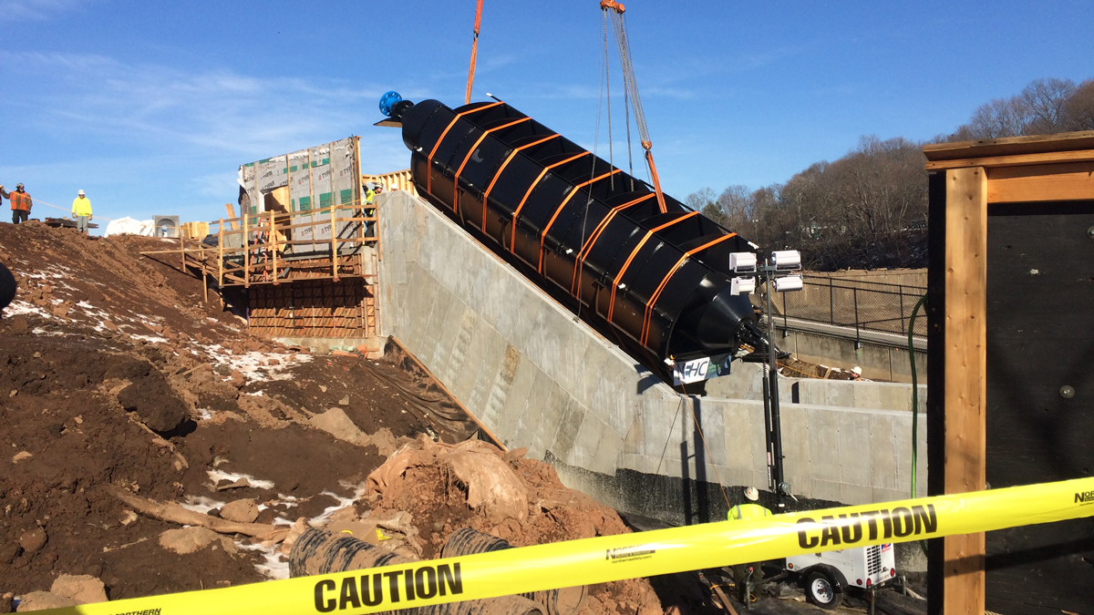 The Archimedes Screw installed in Meriden Tuesday is the first of its kind in the US.