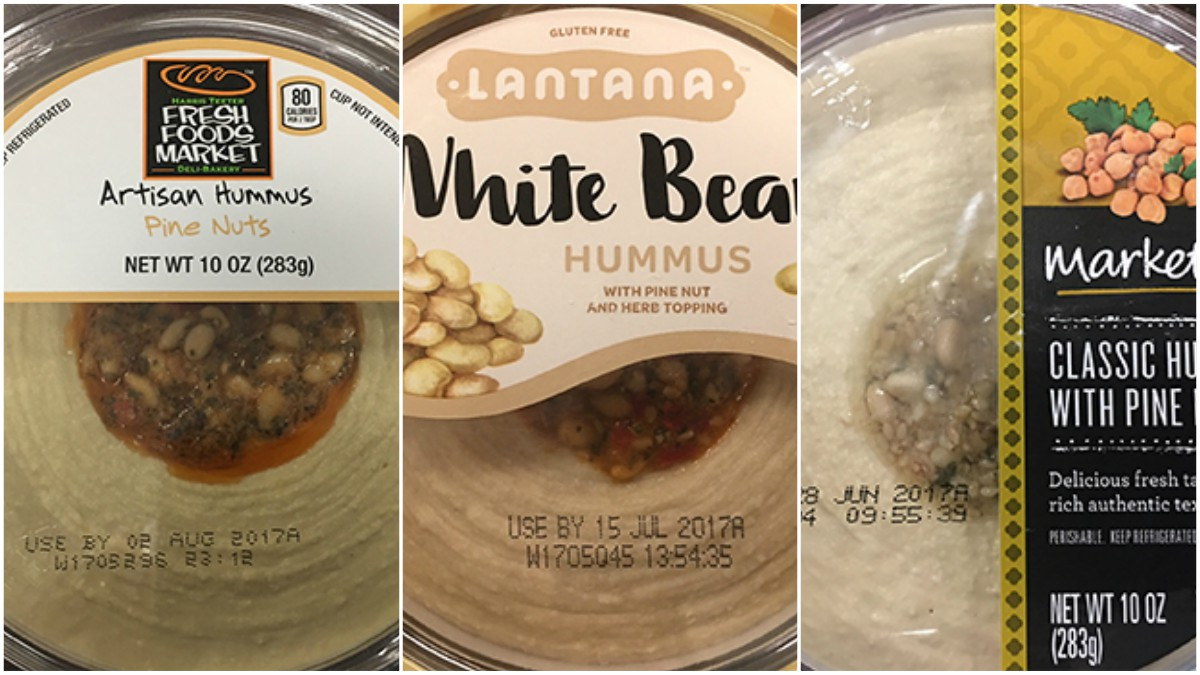House Thaller sells its hummus with pine nut topping under three brand names, pictured above in images from the FDA. The hummus was recalled for potential contamination with listeria.