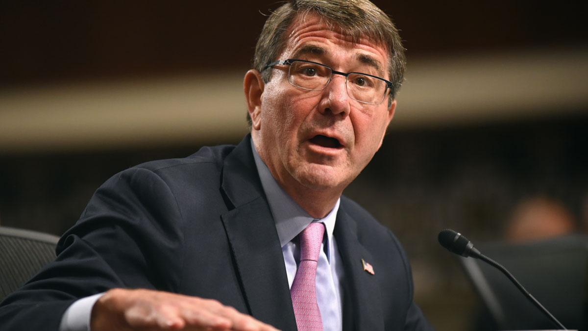 Defense Secretary Ash Carter testifies on Capitol Hill in Washington, Tuesday, Oct. 27, 2015, before the Senate Armed Services Committee.