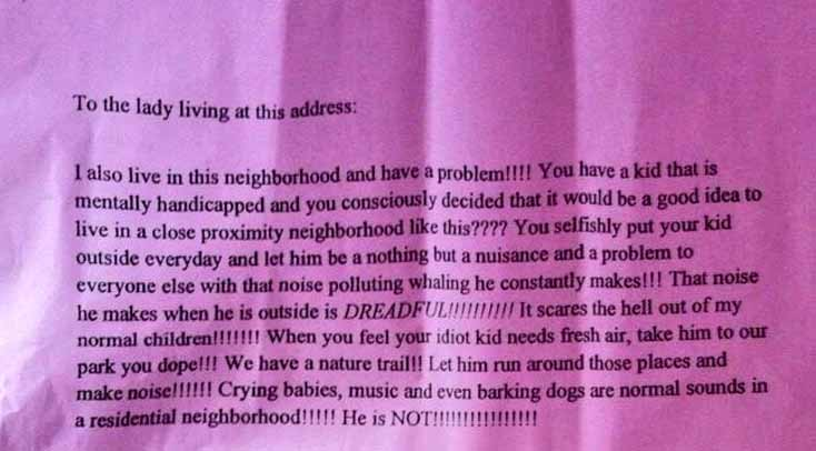 A screen shot of the letter written by an anonymous neighbor who complained that an autistic boy was making too much noise.