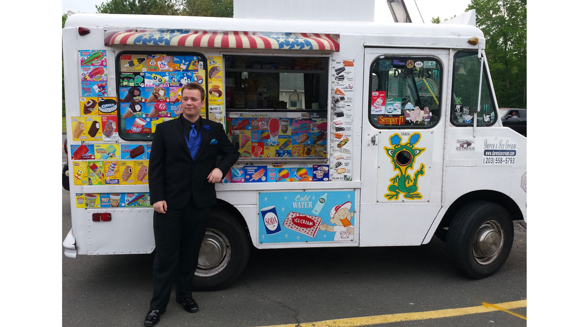 Zack Nichparenko of Bristol, Connecticut, with his sweet prom ride.