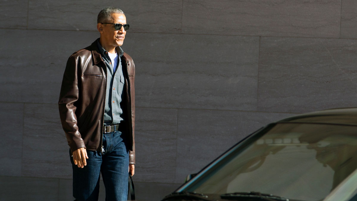 Former President Barack Obama leaves the National Gallery of Art in Washington, Sunday, March 5, 2017.