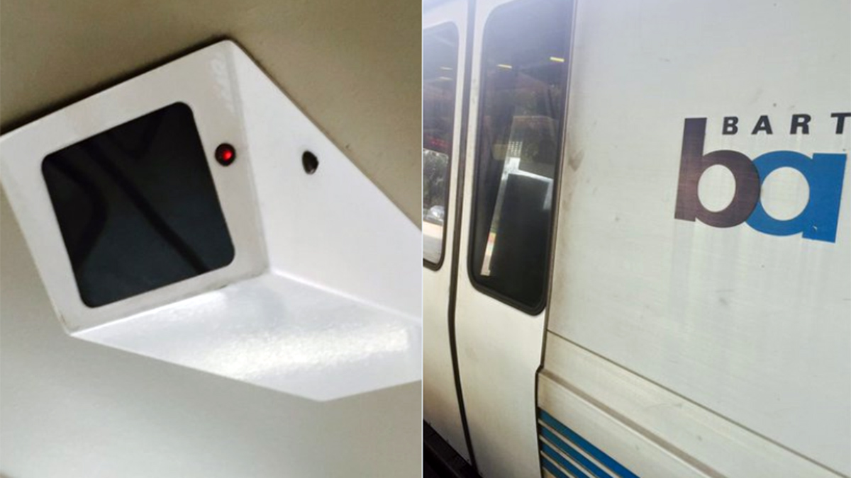 A Bay Area Rapid Transit surveillance camera (or perhaps a decoy) is seen on a BART train, Tuesday, Feb. 9, 2016.