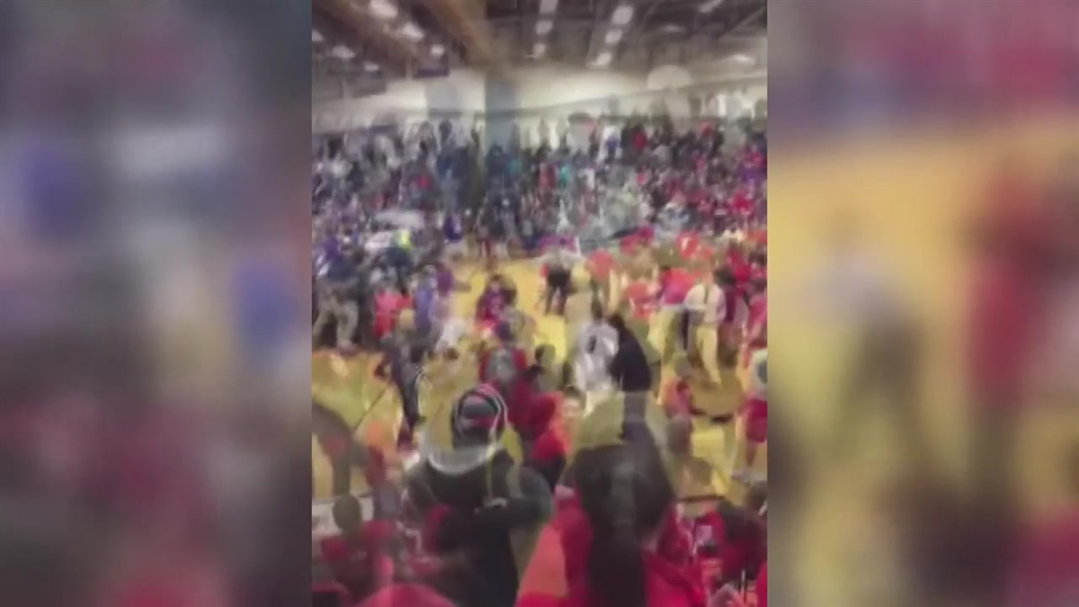 Students brawled at the end of a basketball game between Hall and Conard high schools in West Hartford last week.