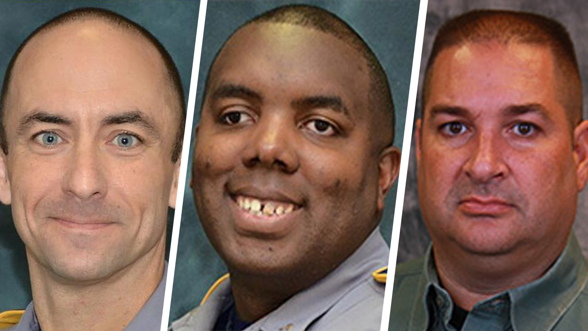 (L-R) Matthew Gerald, 41, Montrell Jackson, 32 and Brad Garafola,45, of the Baton Rouge Police Department were fatally shot by gunman Gavin Long in an ambush-style shooting on July 17, 2016.