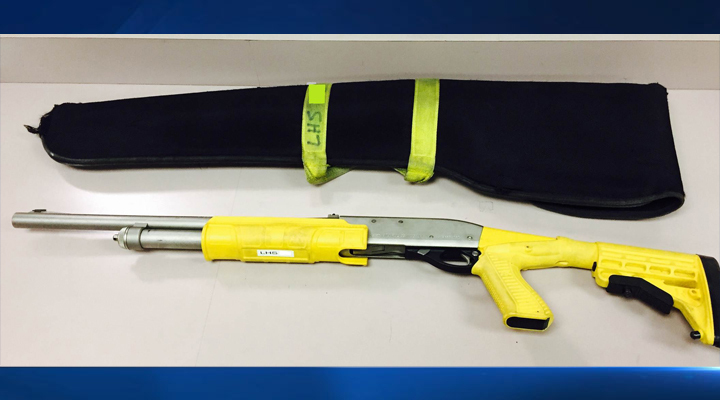A shotgun similar to this one was reported missing from the trunk of an LA County Sheriff's Department cruiser Saturday, Jan. 3, 2015. It is stamped