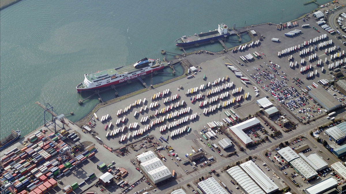 An aerial image of Port Of Belfast