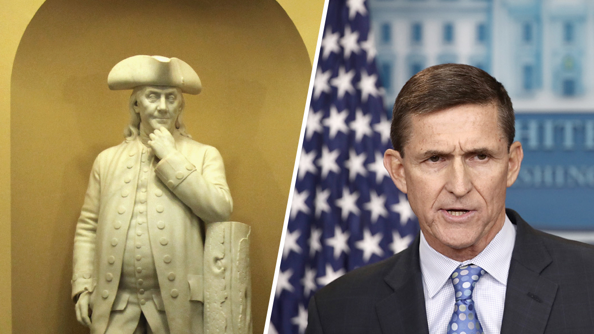 A sculpture of Benjamin Franklin in the U.S. Capitol (left) and Michael Flynn when he was national security adviser for President Donald Trump.