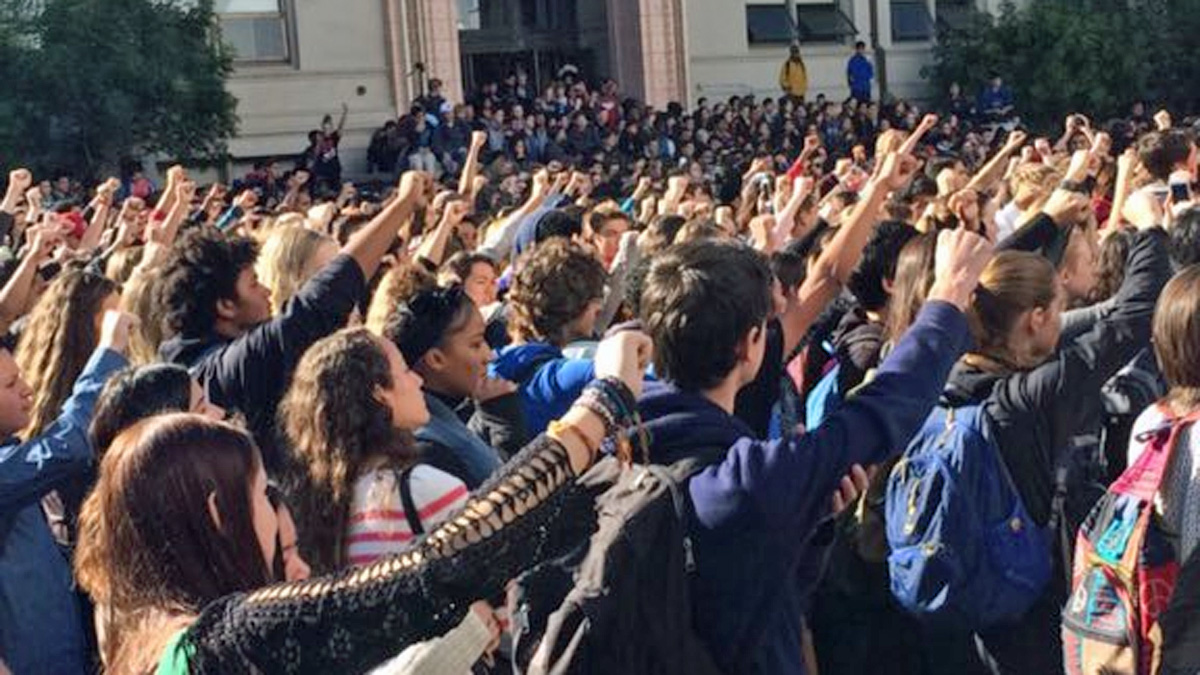 Berkeley High School students walked out of class to protest a racist message that showed up on one of the school's library computers, Thursday, Nov. 5, 2015.