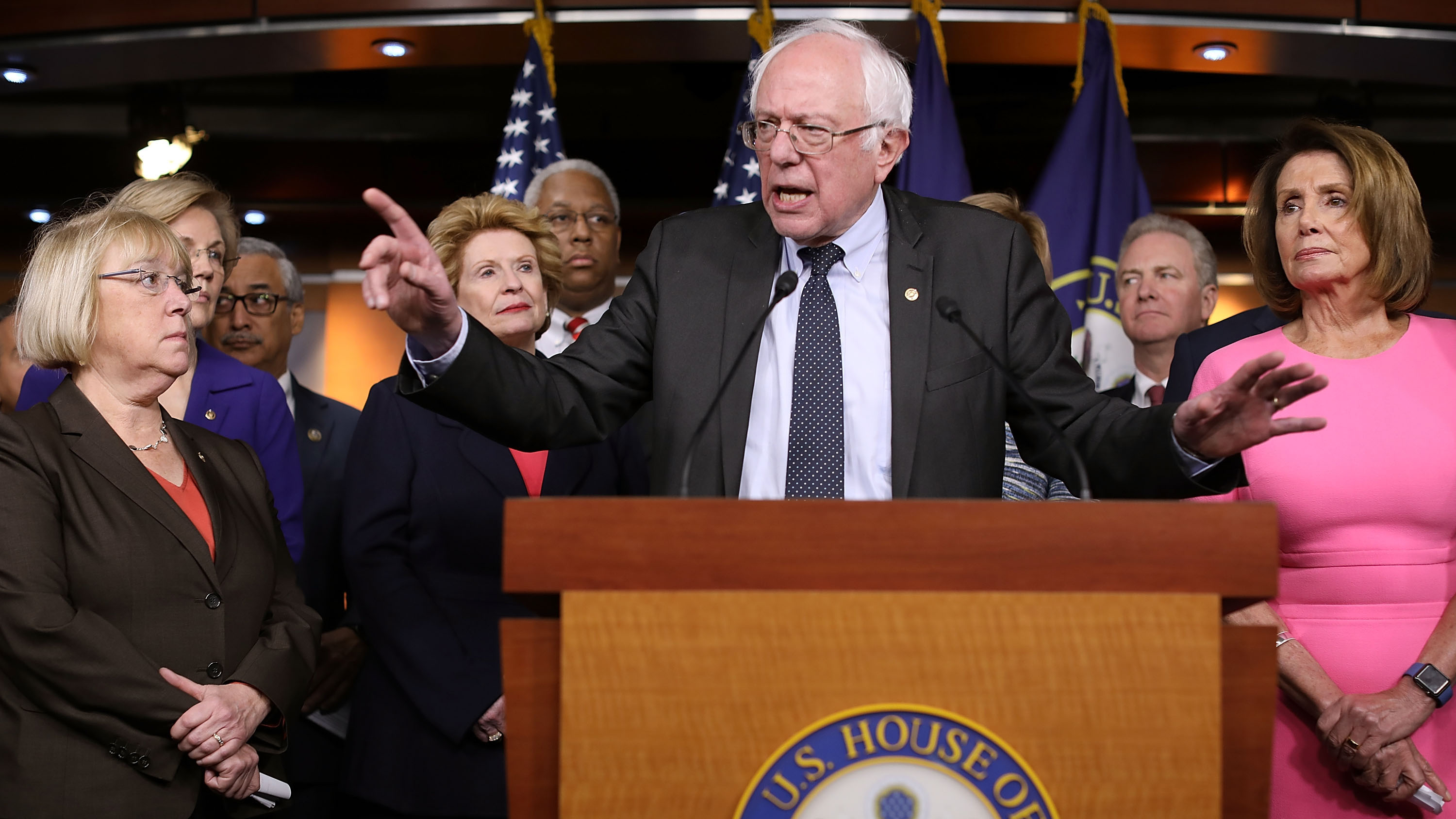 Sen. Bernie Sanders (I-VT) and House Minority Leader Nancy Pelosi (D-CA) join fellow Democrats from both the House and Senate for a news conference following a meeting with U.S. President Barack Obama at the U.S. Capitol January 4, 2017 in Washington, DC.