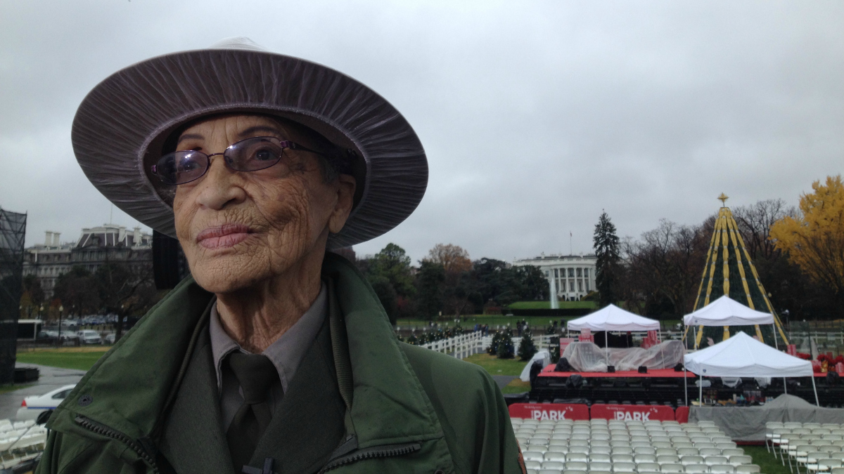 National Park Service ranger Betty Reid Soskin speaks ahead of lighting the National Christmas Tree on Dec. 3, 2015 in Washington, D.C. She works five days a week at the Rosie the Riveter/World War II Home Front National Historical Park in Richmond, California. At the age of 94, Soskin is the oldest full-time National Park Service ranger in the United States.