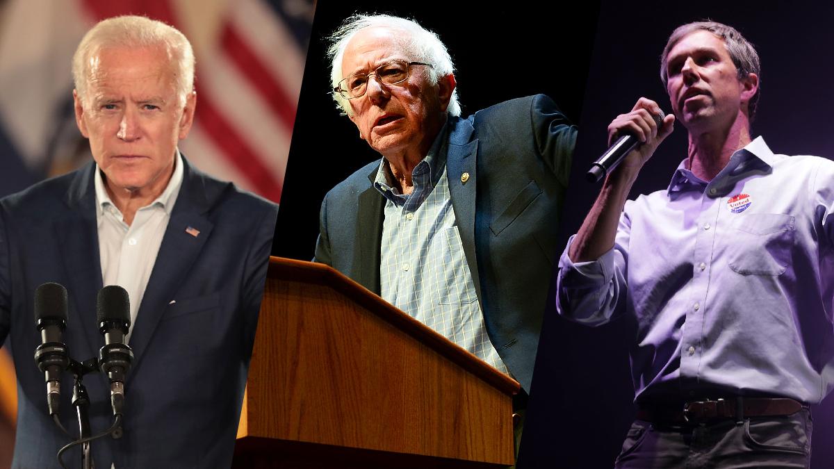 From left: Potential Democratic presidential contenders former Vice President Joe Biden, Sen. Bernie Sanders of Vermont and Rep. Beto O'Rourke of Texas.