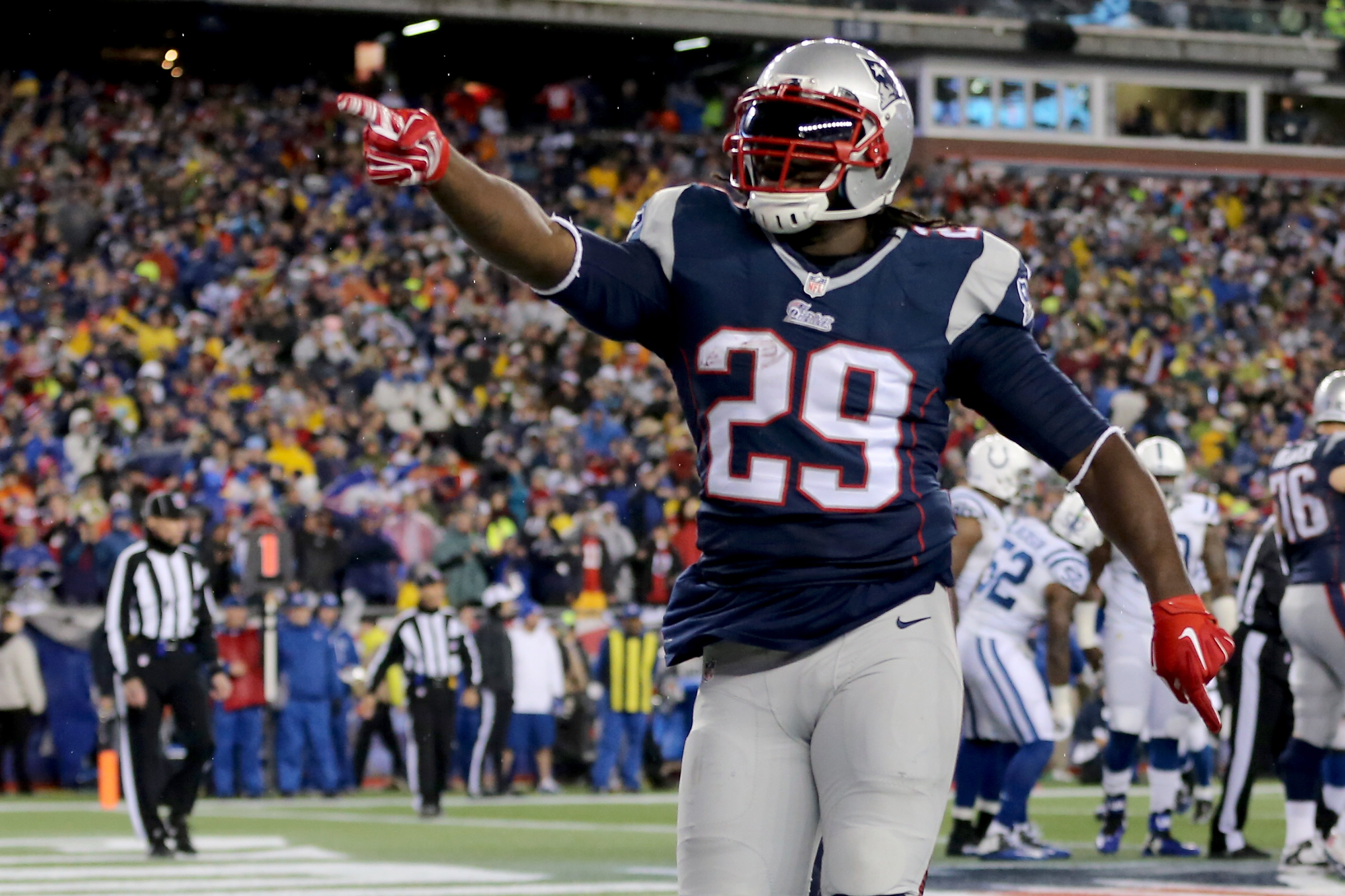 LeGarrette Blount has been an impact player since re-signing with the Patriots in November.  (Photo by Jim Rogash/Getty Images)