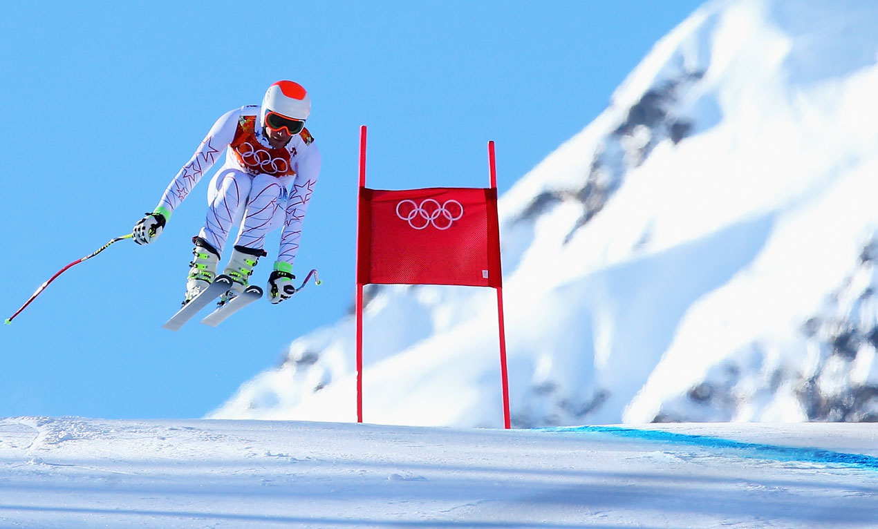 Bode Miller of the United States skis during training for the Alpine Skiing Men's Downhill during the Sochi 2014 Winter Olympics at Rosa Khutor Alpine Center on February 8, 2014 in Sochi, Russia.