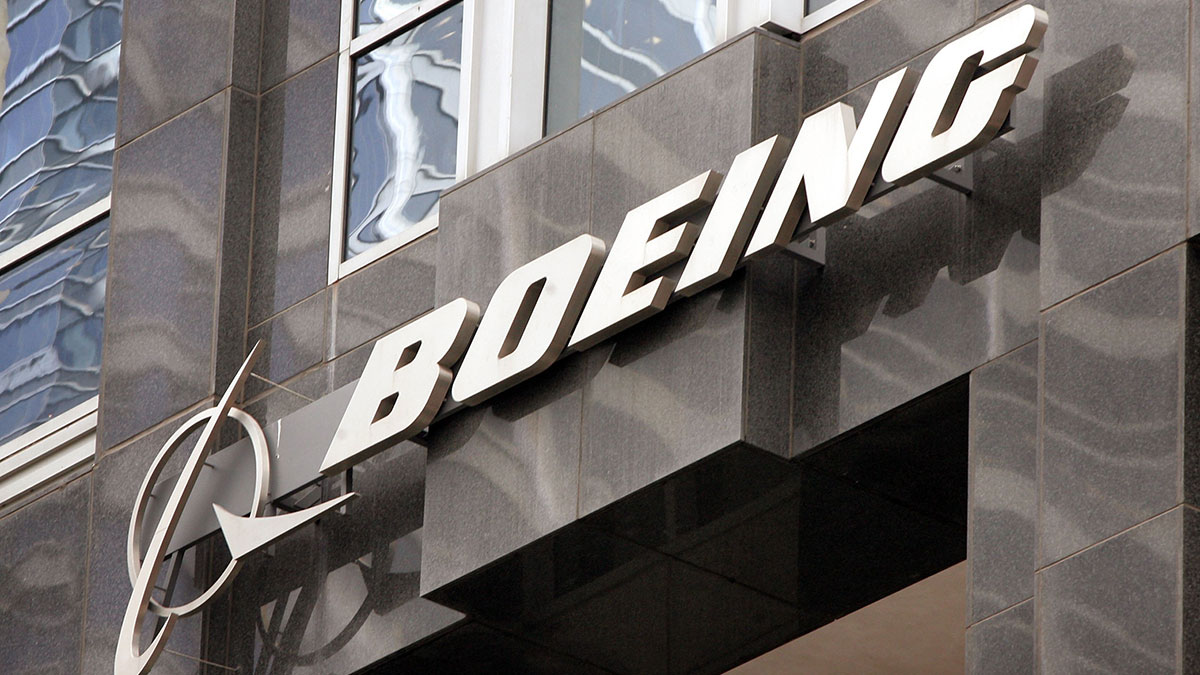 The Boeing company logo hangs on the Chicago headquarters building in this 2006 image.