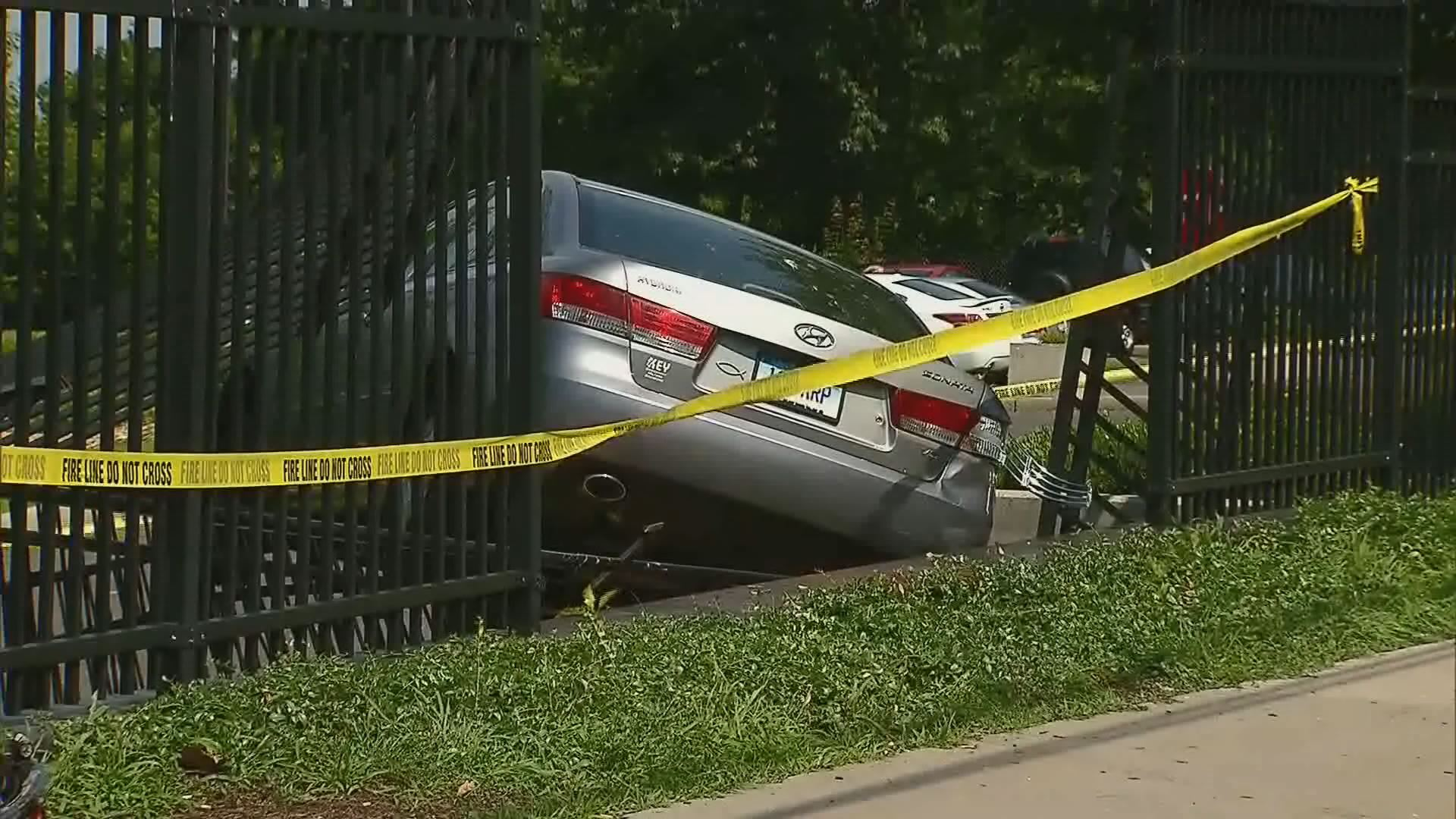 Bridgeport Hospital authorities said an elderly man lost control of his car and crashed through fencing near the hospital emergency room entrance on Monday.