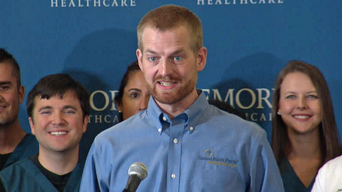Dr. Kent Brantly, speaks at Emory University Hospital in Atlanta, Georgia, before being discharged, Aug., 21, 2014, after treatment for Ebola.
