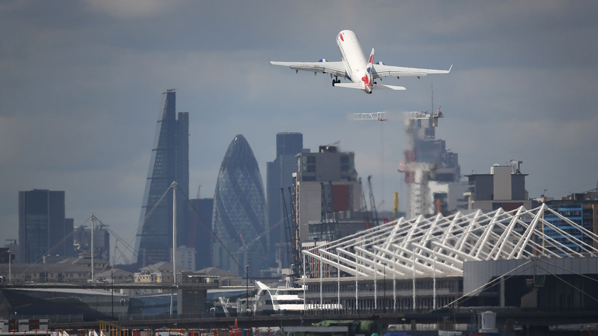 A British Airways passenger plane takes off from from London City Airport on August 6, 2015 in London, England.