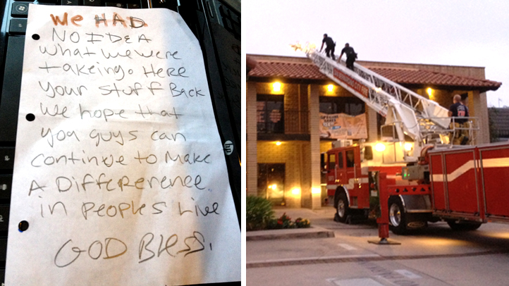Thieves who stole computer equipment from a San Bernardino non-profit returned the items along with a letter of apology. The burglars apparently came in through the ceiling, which prompted police to call in the fire department to help in the investigation, pictured at right.