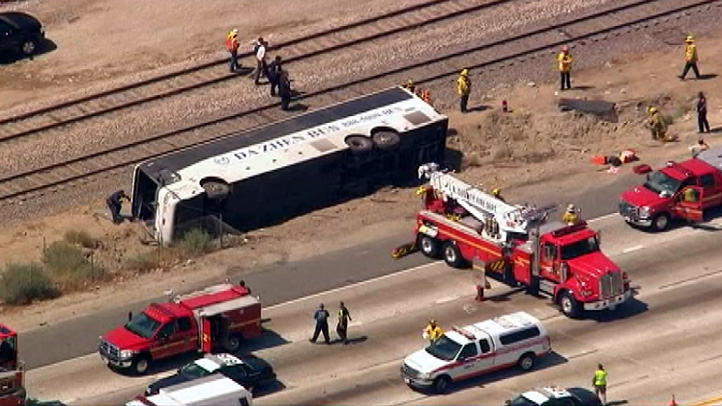 Up to 50 people were injured when a tour bus overturned on the Foothill (210) Freeway in Irwindale on Thursday, Aug. 22, 2013.