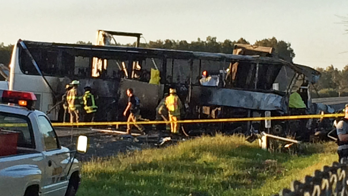 In this photo provided by Andrew Hutchens, authorities work the scene where nine people were killed in a three-vehicle crash involving a bus carrying high school students on a visit to a college, Thursday, April 10, 2014, near Orland, Calif. Authorities said it is not yet clear what caused the crash but that it involved a tour bus, a FedEx truck and a Nissan Altima.