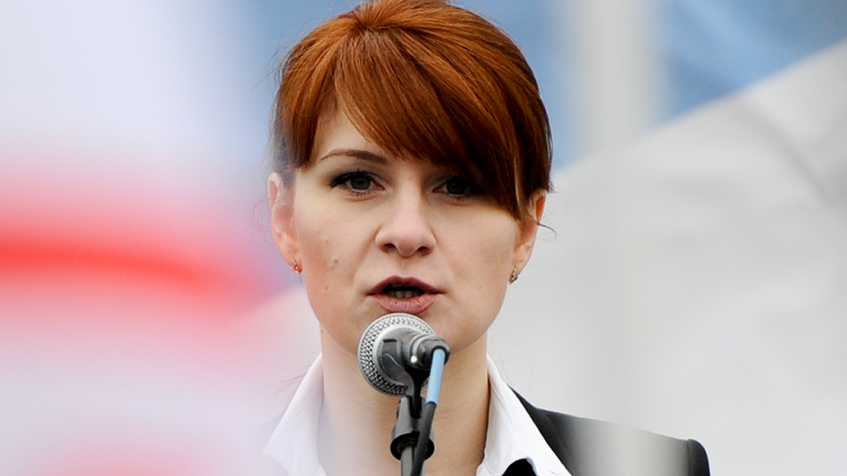 In this April 21, 2013, file photo, Maria Butina speaks to a crowd during a rally in support of legalizing the possession of handguns in Moscow, Russia.