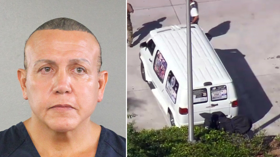 Cesar Sayoc Jr, the suspect in custody in the nationwide mail bombings, and the van that was seized as part of the investigation.