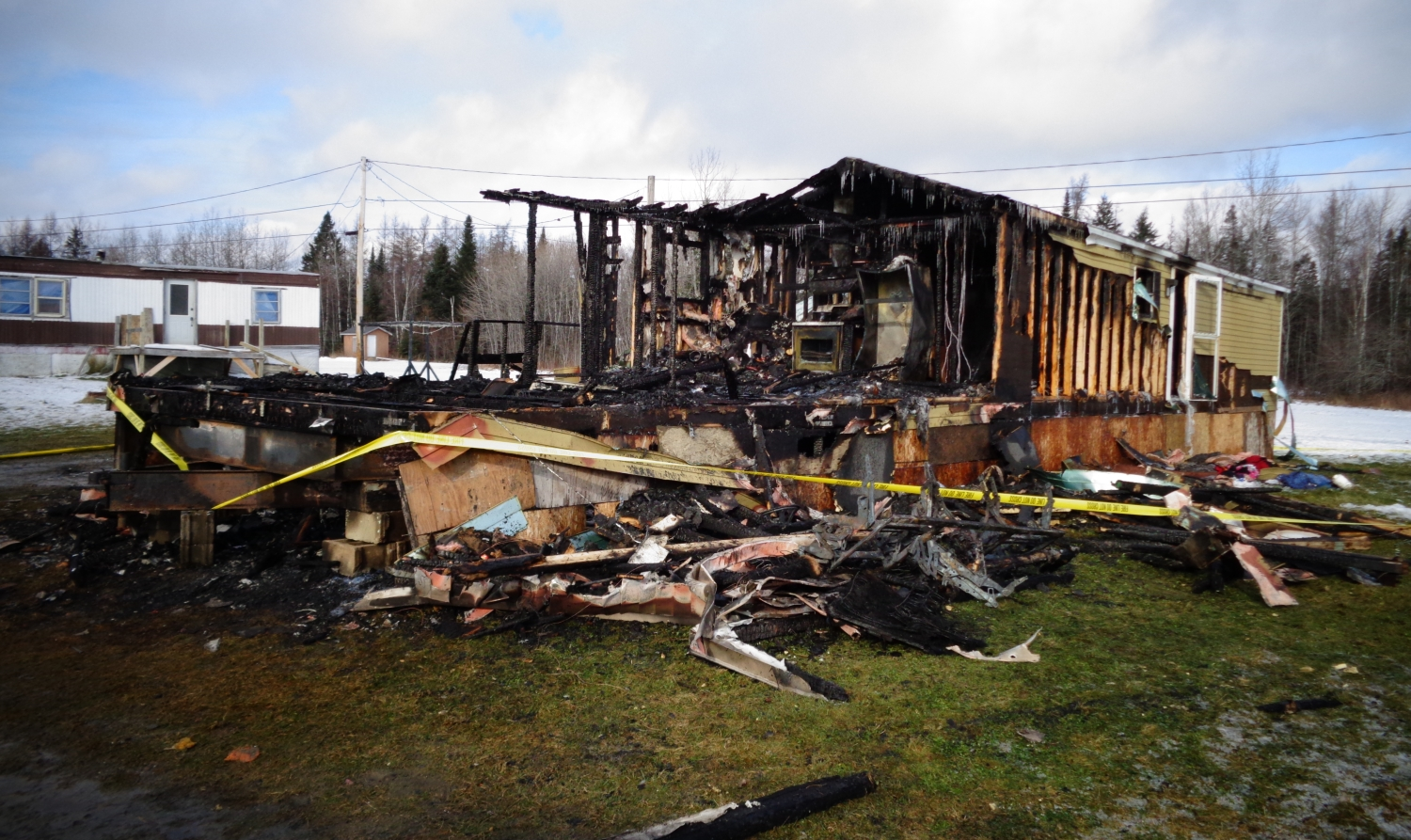 A photo from the scene of Thursday morning's fire in Caribou, Maine.