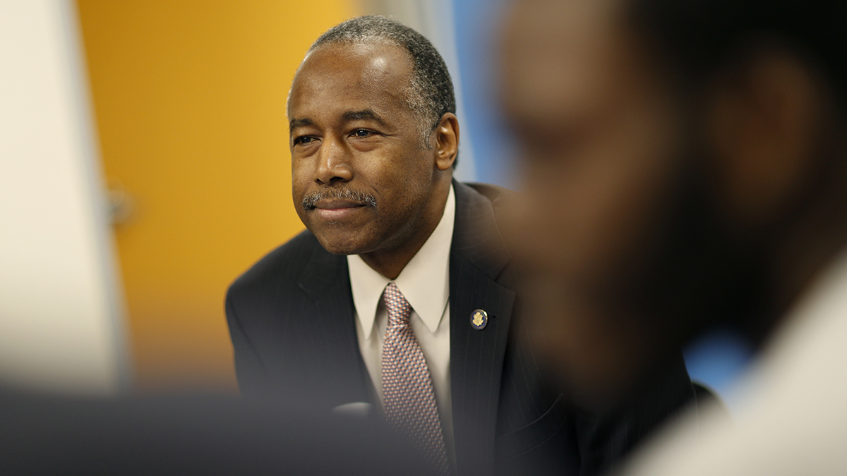 Housing and Urban Development Secretary Ben Carson tours the HELP of Southern Nevada Shannon West Homeless Youth center, April 25, 2018, in Las Vegas.