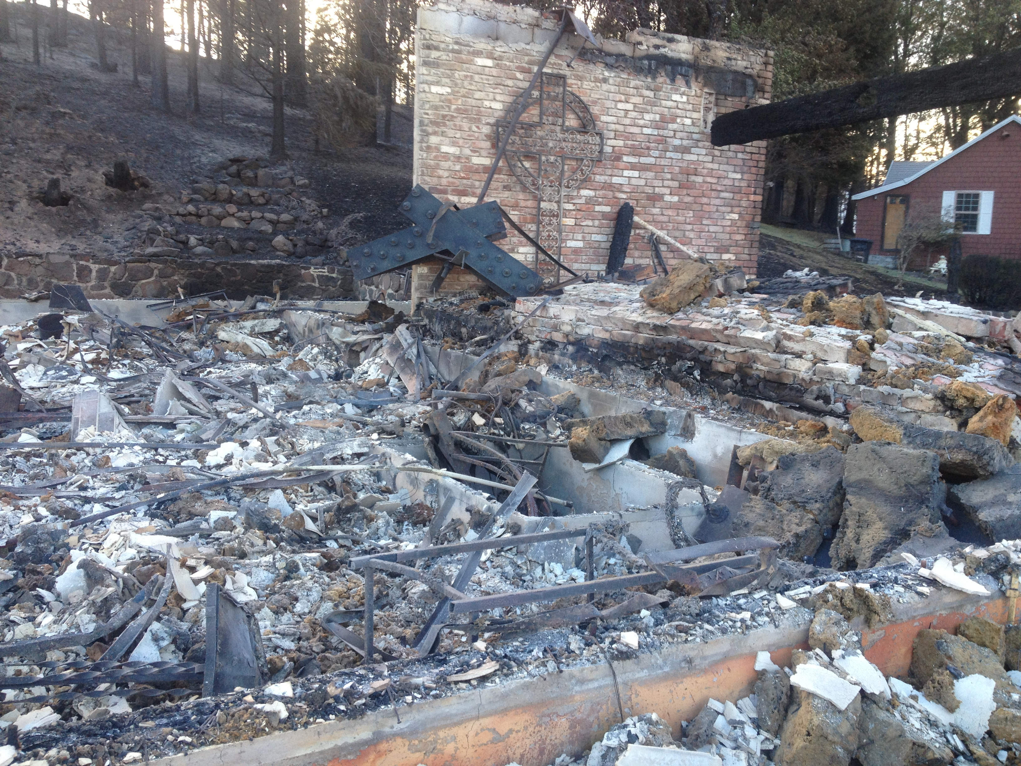 Catholic Church in Weed destroyed during Boles Fire. Sept. 17, 2014