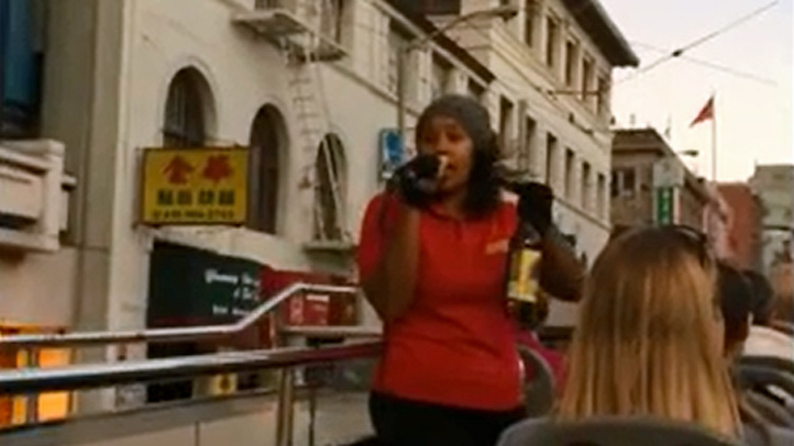 A tour guide's racist rant was captured on video as a sightseeing bus drove through San Francisco's Chinatown.