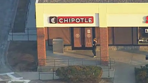An aerial photo of the Chipotle in Billerica, Massachusetts.