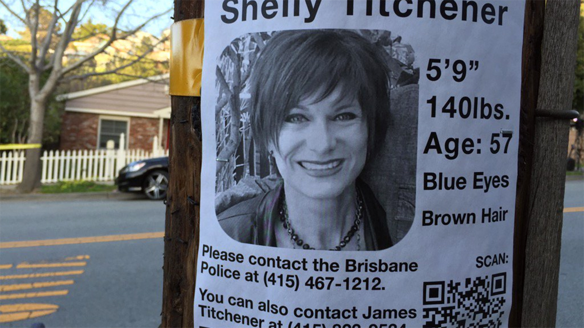 A flyer attached to a post in Brisbane urges anyone who's seen missing woman Shelly Titchener to contact police, Tuesday, Feb. 24, 2016.