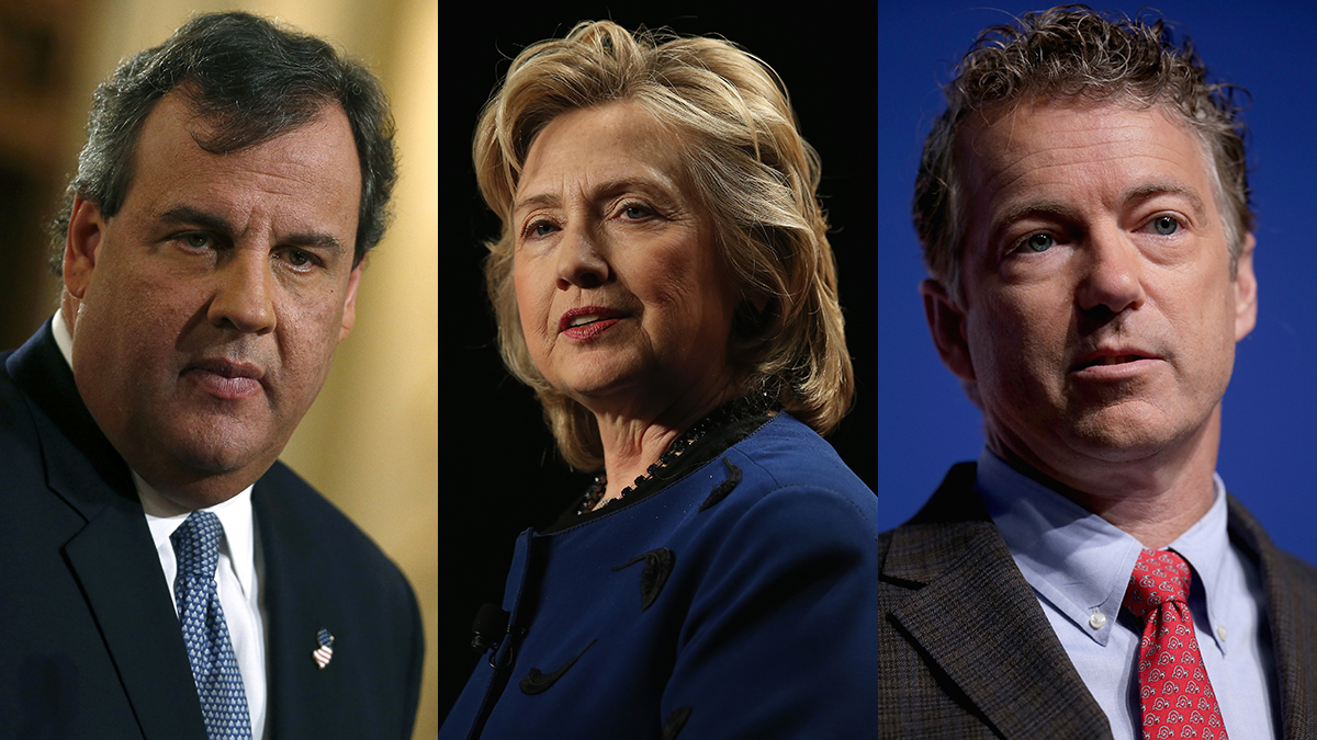 From left, Chris Christie, Hillary Clinton and Rand Paul. All three possible presidential candidates weighed in on the vaccination debate.