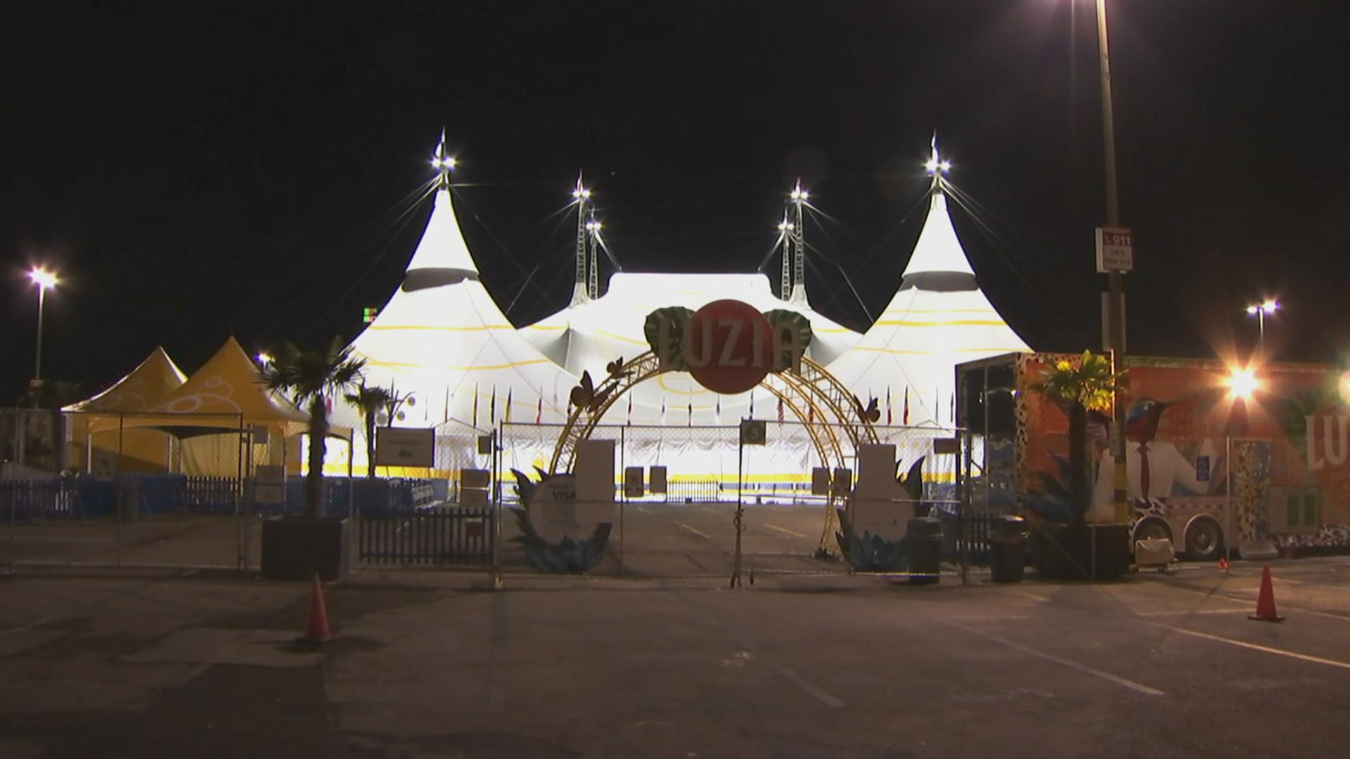 A worker suffered life-threatening injuries at a Cirque du Soleil rehearsal.