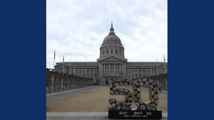 The Super Bowl 50 statue at San Francisco City Hall has been vandalized — again.
