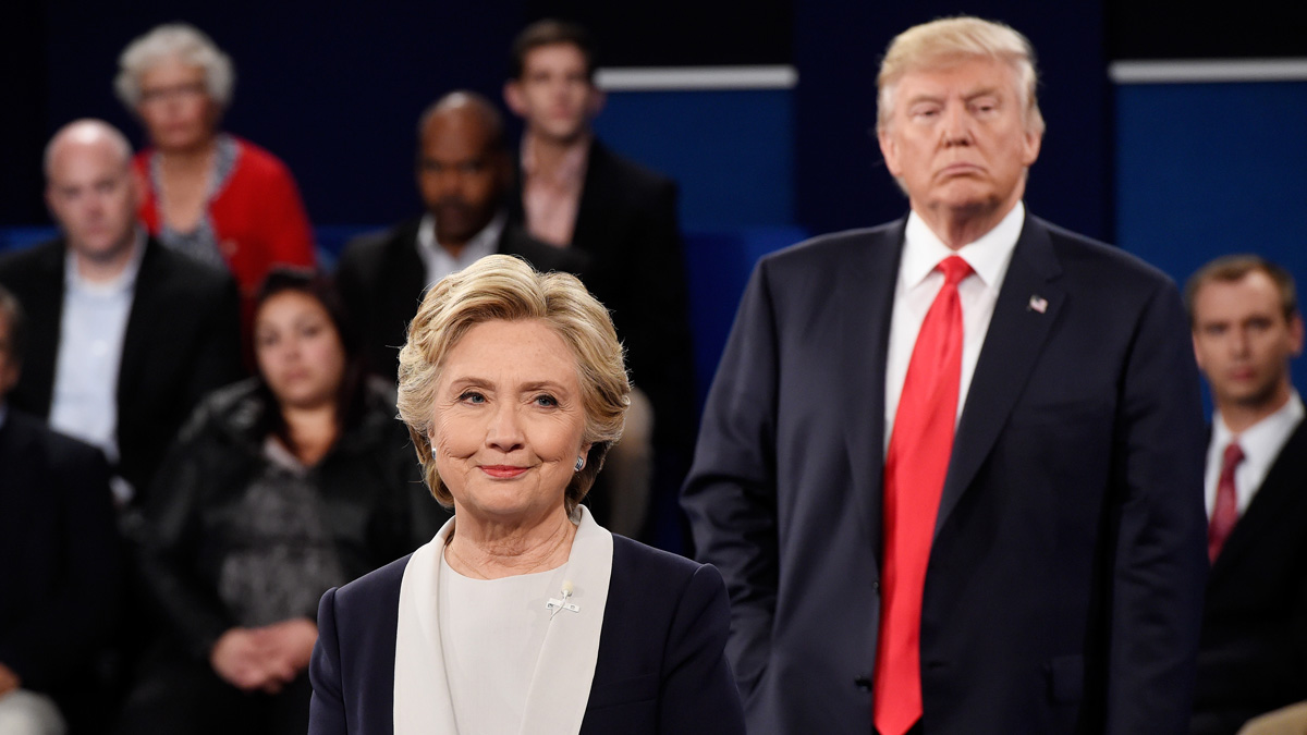 In this file photo, Hillary Clinton and Donald Trump at the second presidential debate in St. Louis, Missouri.