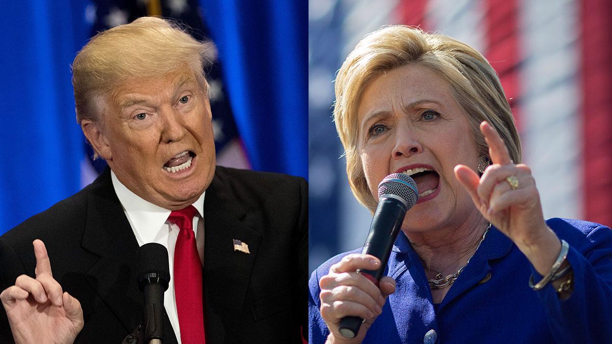 Republican Donald Trump (L) and Democrat Hillary Clinton.