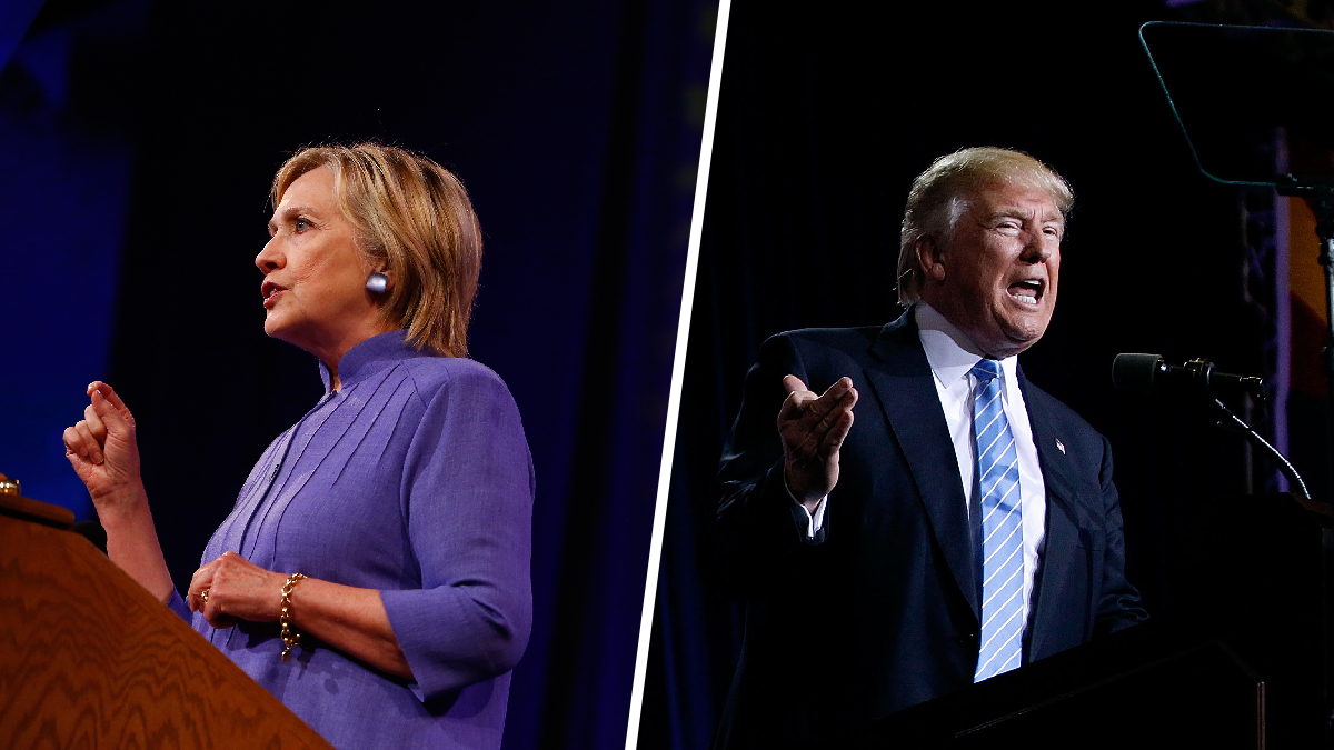 Hillary Clinton speaking in Ohio on August 31, 2016, and Donald Trump speaking in Arizona on September 1. Most presidential polls gave Clinton the lead going into final, post-Labor Day stretch of the 2016 campaign.