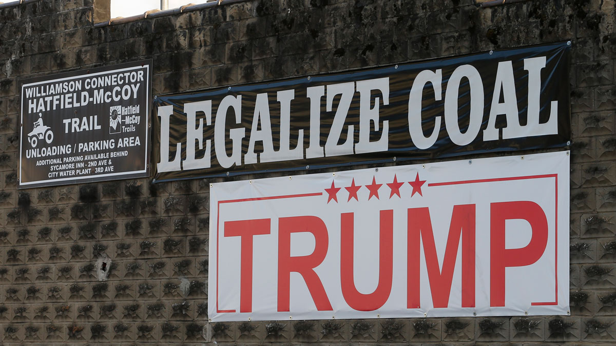 Political signs are posted on the wall of a building in Williamson , W.Va., Friday, Nov. 11, 2016.